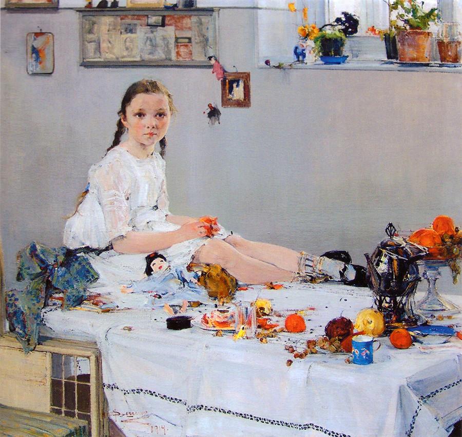 Portrait of Varya Adoratskaya by Nicolai Feshin, 1914.