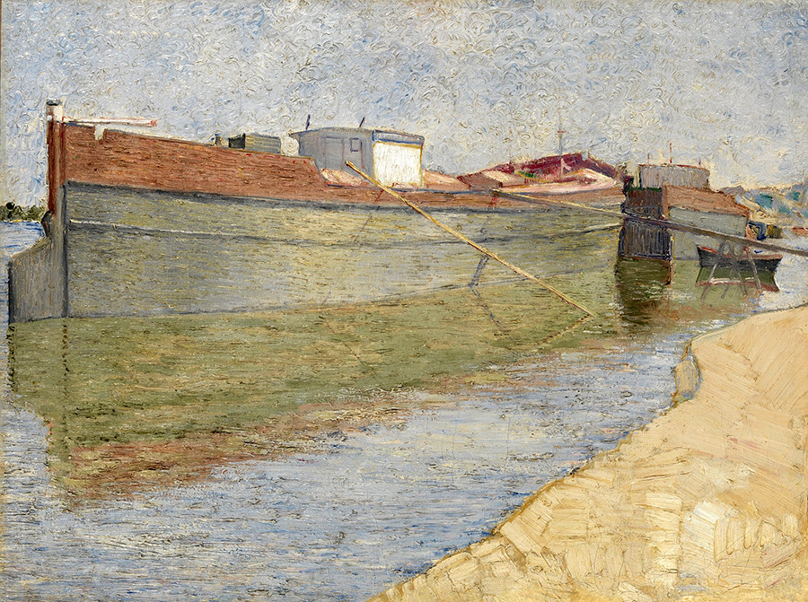 Barges on the Dnieper by Vladimir Baranov-Rossine.