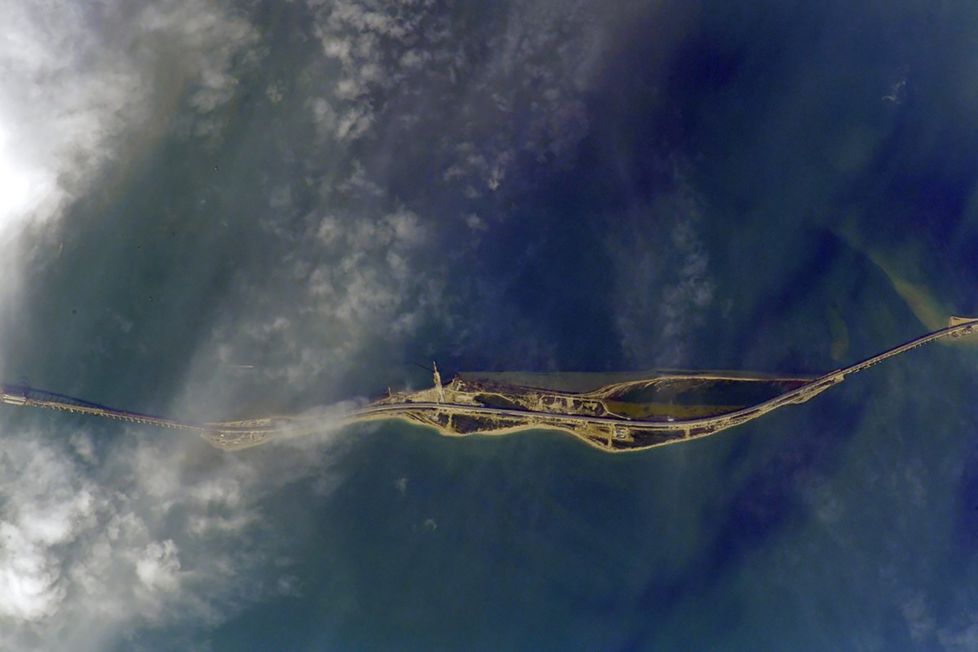 Crimea Bridge from space