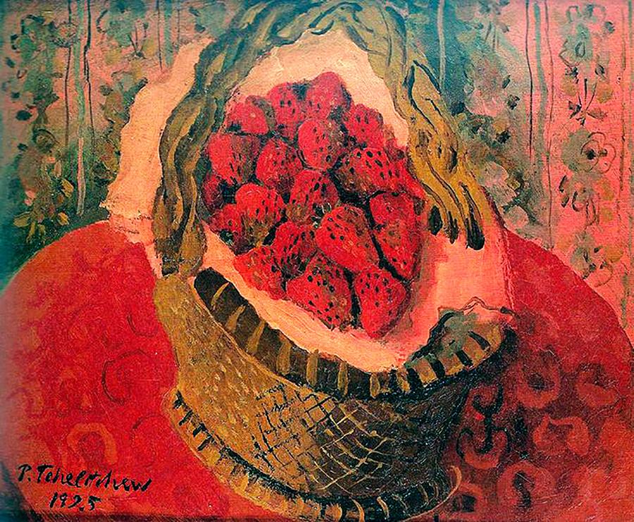 Panier avec des fraises par Pavel Chelichtchev
