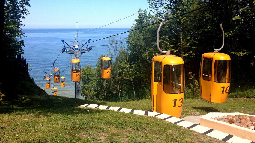 Gondola di sisi pantai di Svetlogorsk, Kaliningrad.