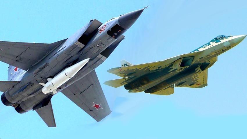 """MiG-31 sa hiperzvučnom raketom """"Kinžal"""" i lovac 5 generacije Su-57."""