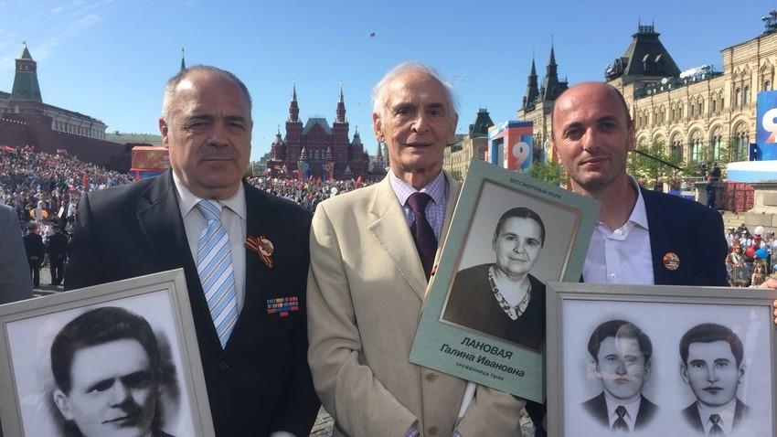 Небојша Јушковић, легендарни руски глумац Василиј Лановој и Мирко Кнежевић