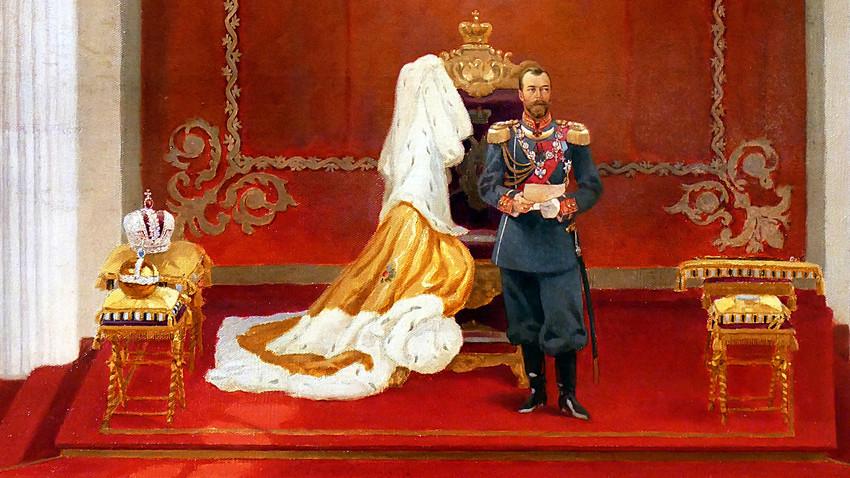 V. Poliakov. L'empereur Nicolas II à l'occasion de la convocation de la première Douma d'État de l'Empire russe, le 27 avril 1906, à Saint-Pétersbourg.