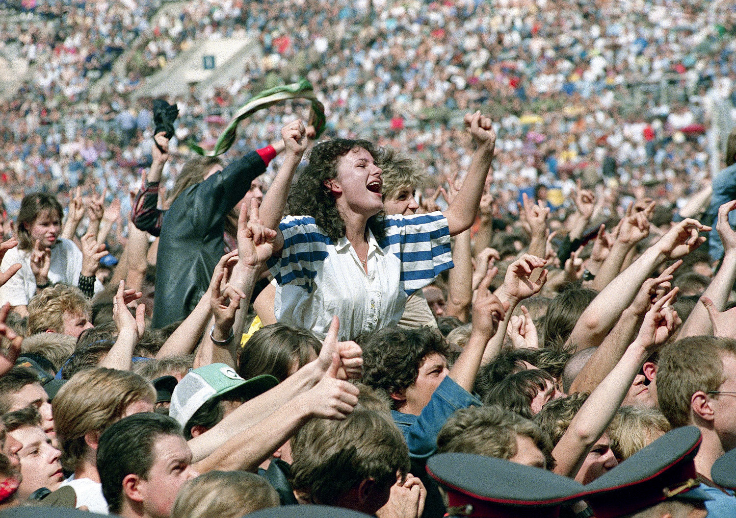 Western heavy metal rock bands including Bon Jovi, Motley Crue, Scorpions and Cinderella were enthusiastically received by loving fans in Moscow on Saturday, August 12, 1989 at The Moscow Music Peace Festival