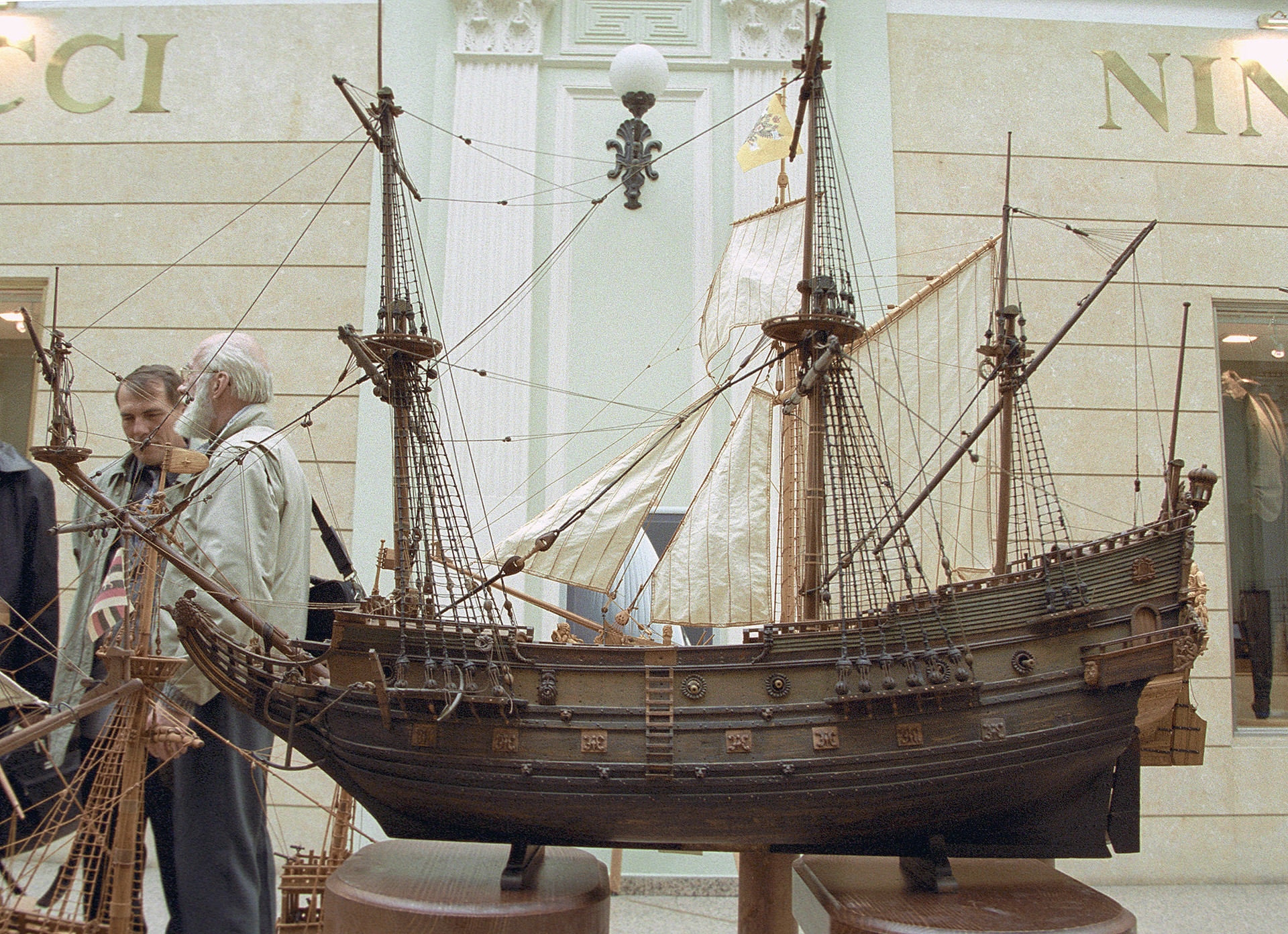 A model of the first Russian warship Oryol.