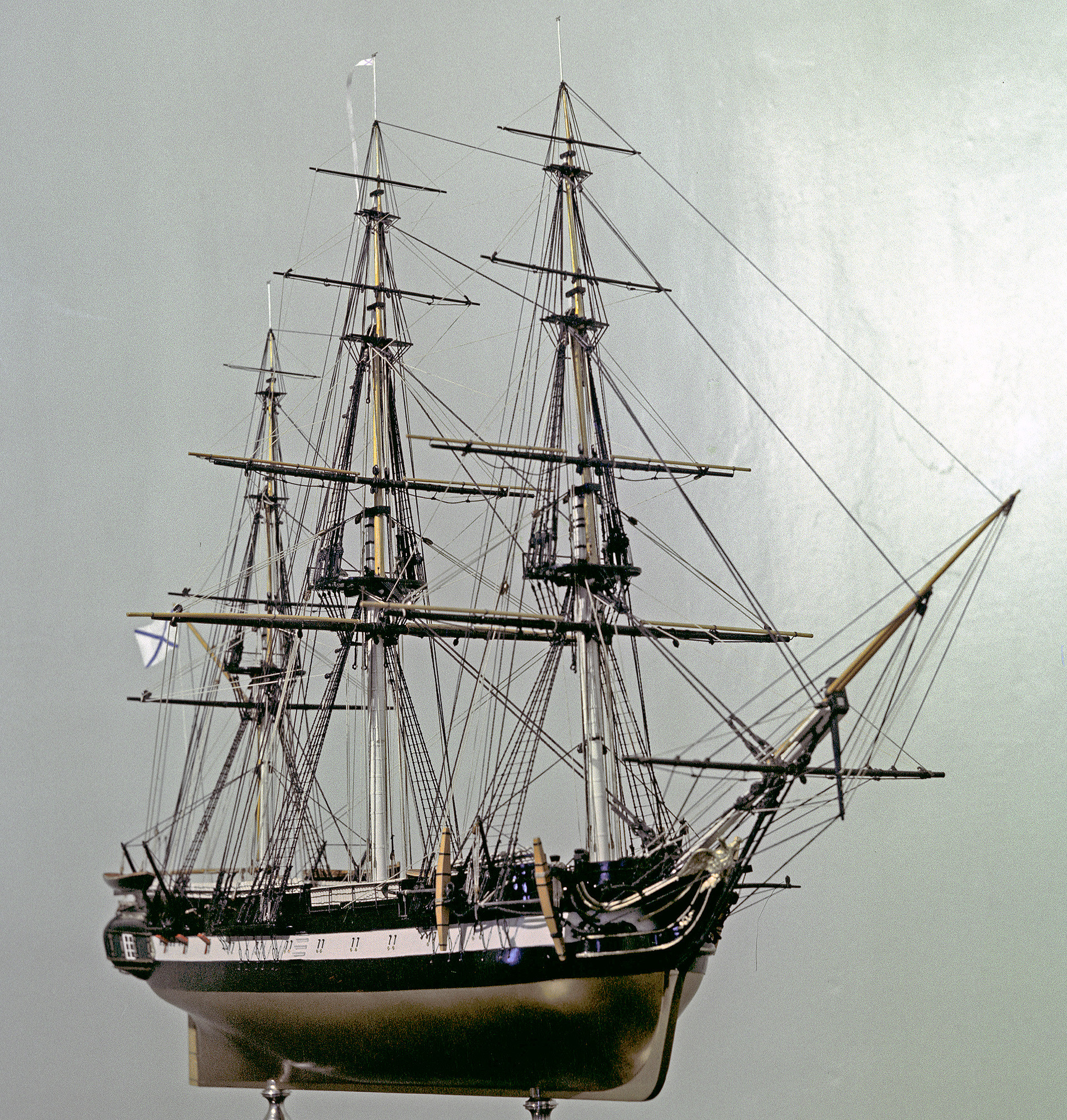 A model of a sloop-of-war Vostok in the Central Navy Museum in Leningrad in 1970.
