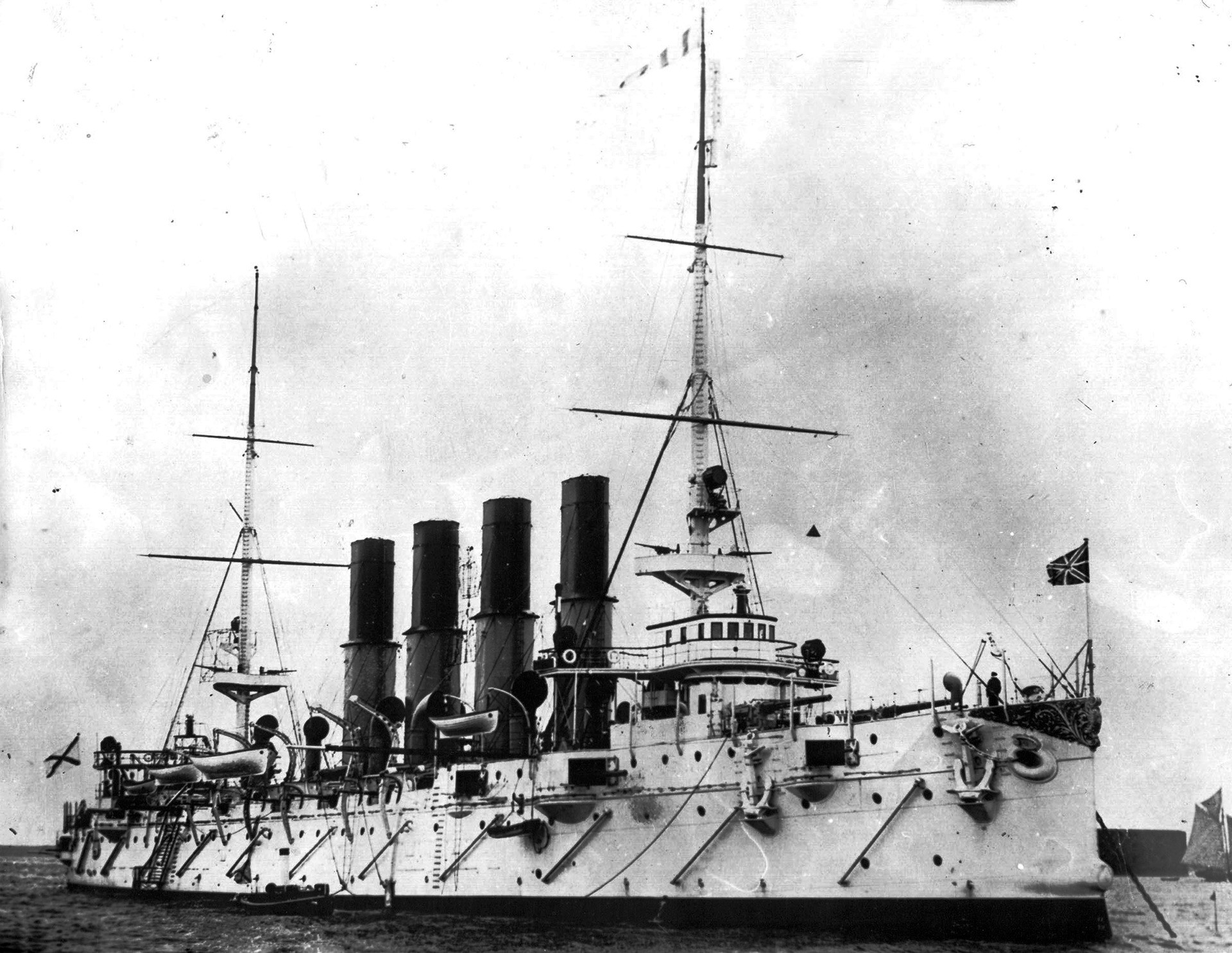The Imperial Russian protected cruiser Varyag in Kronstadt.