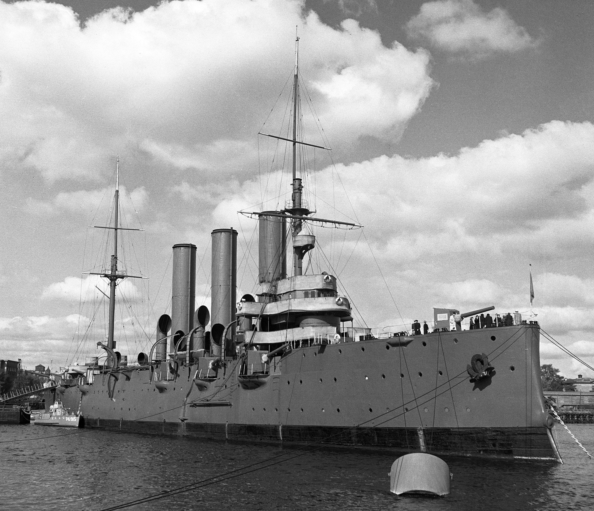 The cruiser Aurora at Petrogradskaya Embankment in St. Petersburg.