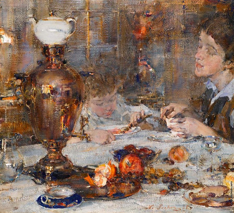 """""""Sra. Fechin e filha"""", de Nicolai Fechin, 1925"""