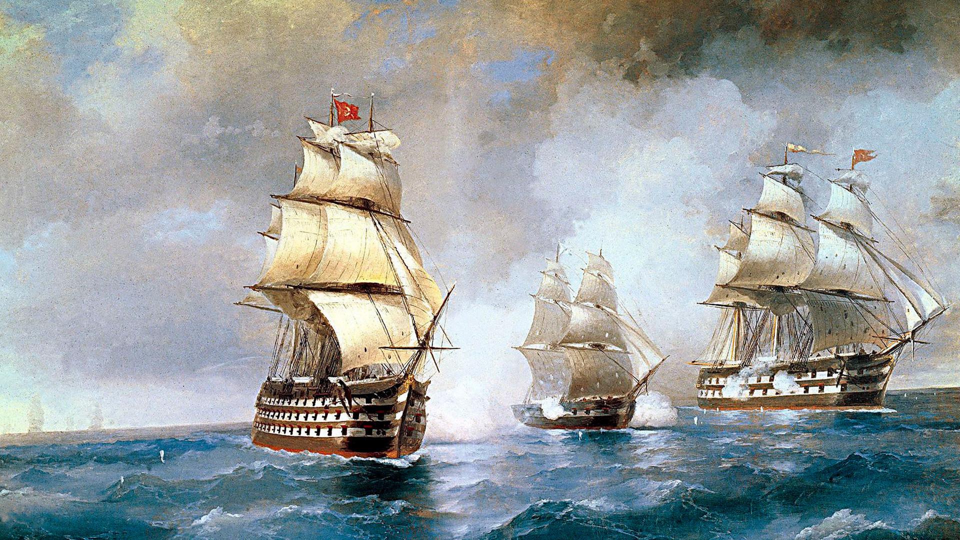 Brigue Mercúrio atacado por dois navios turcos