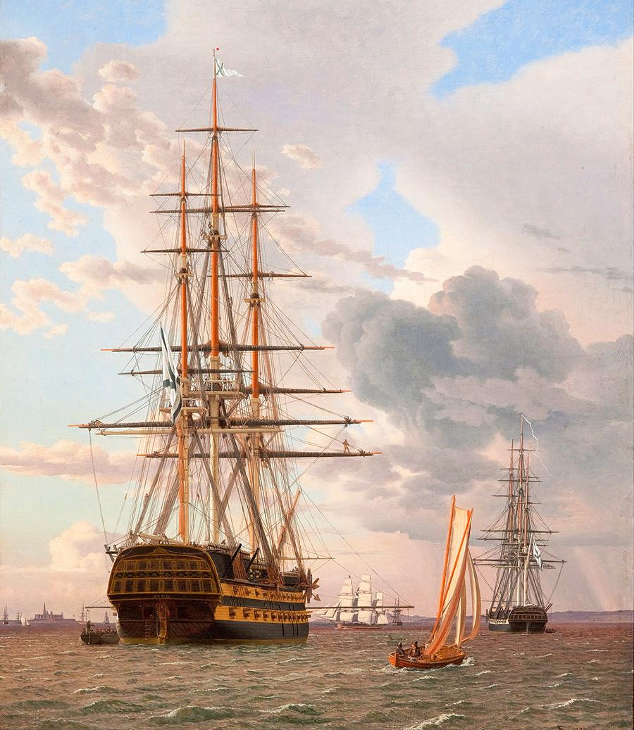 Navio de linha russo Azov ancorado em Elsinore