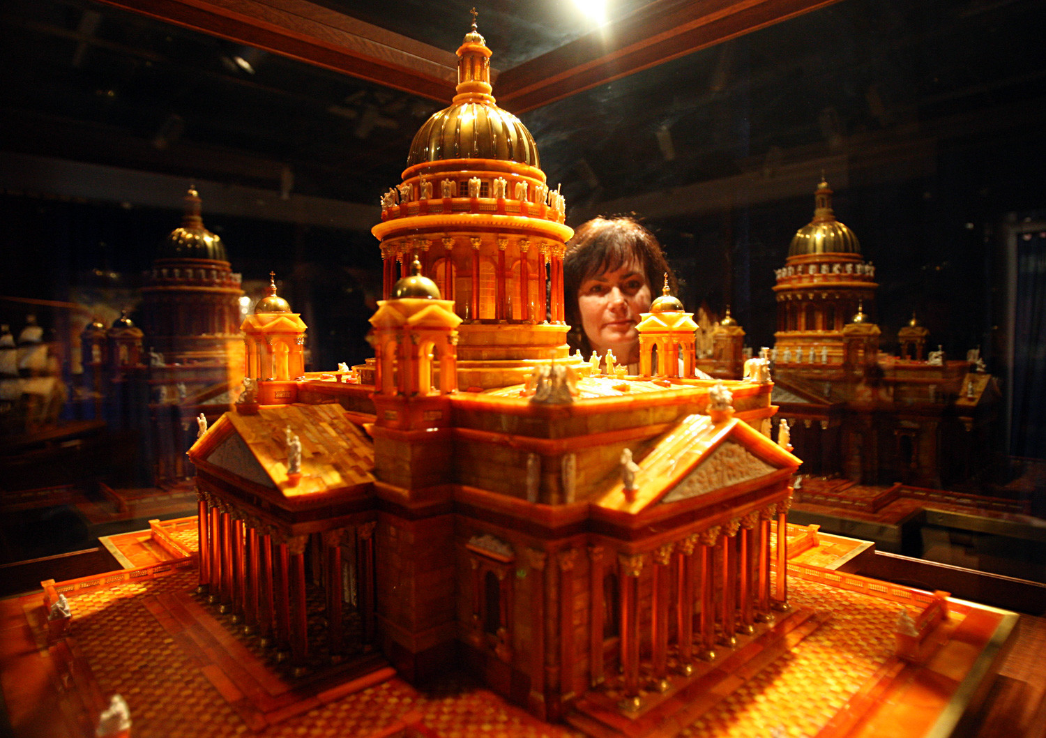 An amber scale model of St Isaac's Cathedral