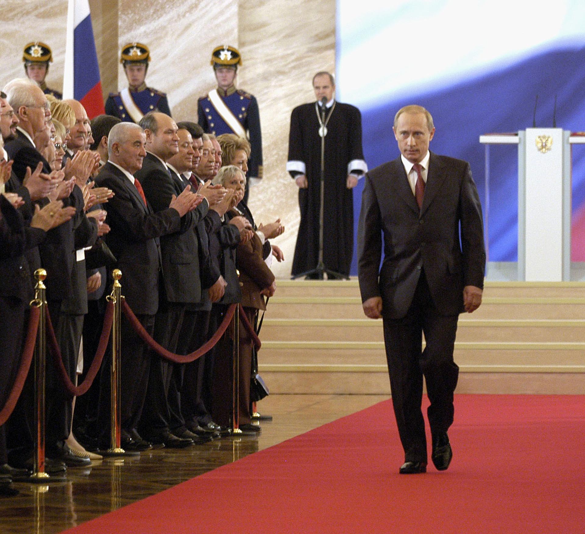 Владимир Путин по време на церемонията по инаугурацията в зала