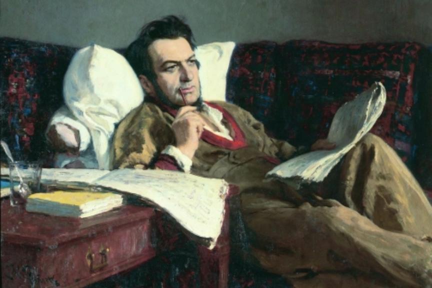 Ilja Repin: Mihail Glinka med pisanjem opere Ruslan in Ljudmila, 1887.