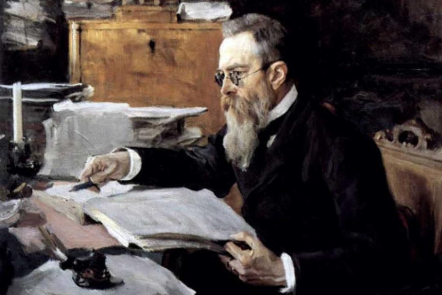 Valentin Serov: Portret skladatelja Rimskega-Korsakova, 1898.