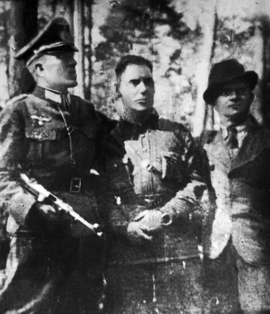 Nikolai Kuznetsov (center), a Soviet spy, captured and executed by Germans in 1944.