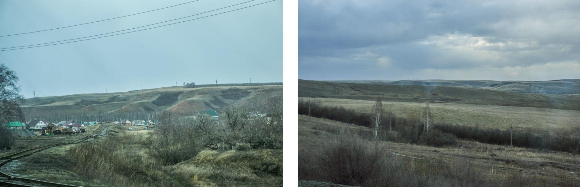 Depuis la fenêtre du wagon les paysages sont monotones mais apaisants.