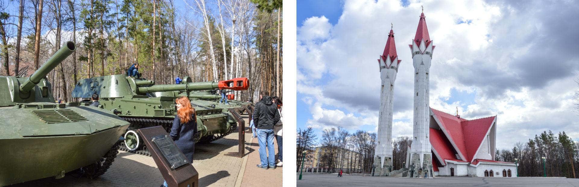 Non loin des innombrables monuments à la gloire de l'armée soviétique se dresse la majestueuse mosquée Lialia-Toulpan.