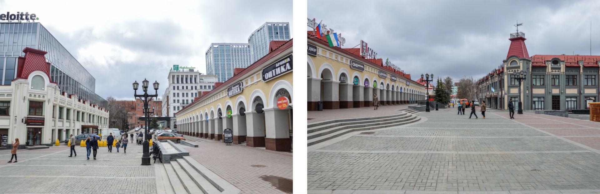 Entièrement restaurée, la place Verkhnetorgovaïa est aujourd'hui un lieu convivial et chaleureux, cœur du centre-ville.