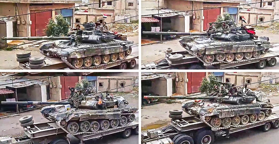 """""""Тигрите"""" со руски тенкови Т-90 во движење кон Растан."""