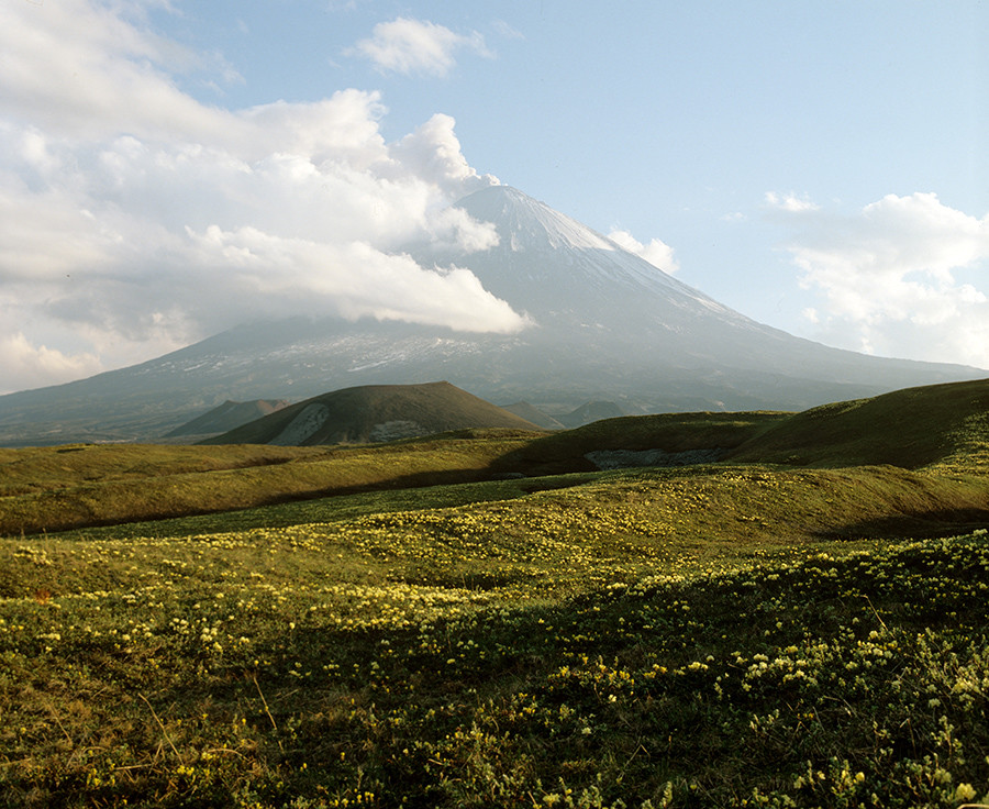 View of the most active and highest volcano in Eurasia - Klyuchevskoe peak