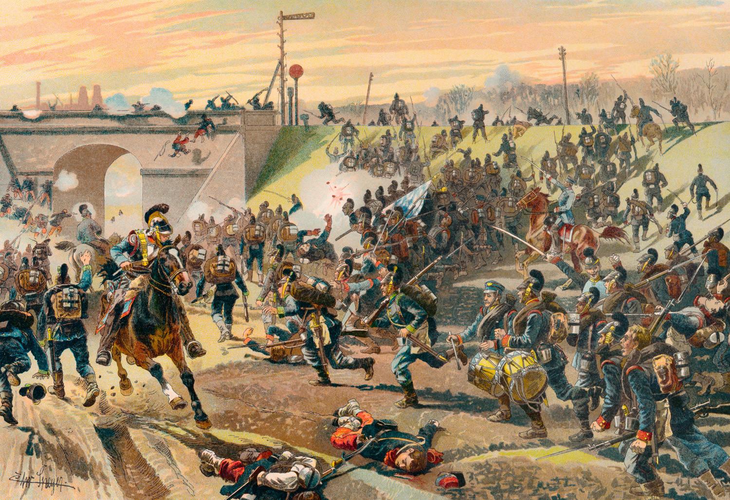 Storming of the railway embankment outside Orleans by the First Bavarian Corps on 11 October 1870, Franco-Prussian War or Franco-German War, 1870-1871, between the French Empire and the Kingdom of Prussia.