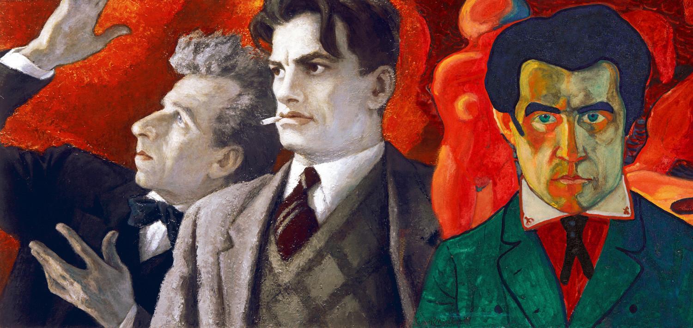 Collage, L-R: Meyerhold, Mayakovsky, Malevich