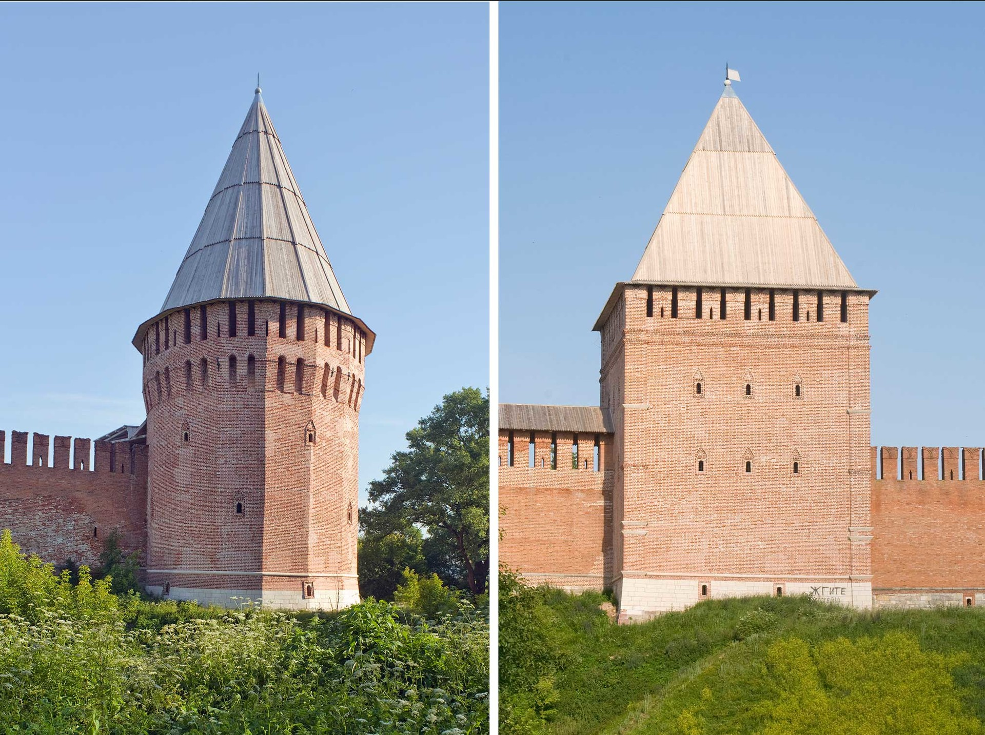 L: Smolensk citadel. Southeast corner with Altar (Belukha) Tower.  R: Smolensk citadel. East wall with Avraamy Tower. East façade. July 1, 2014