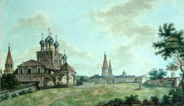Kolómenskoye en torno a 1800, obra de F. Alekséiev.