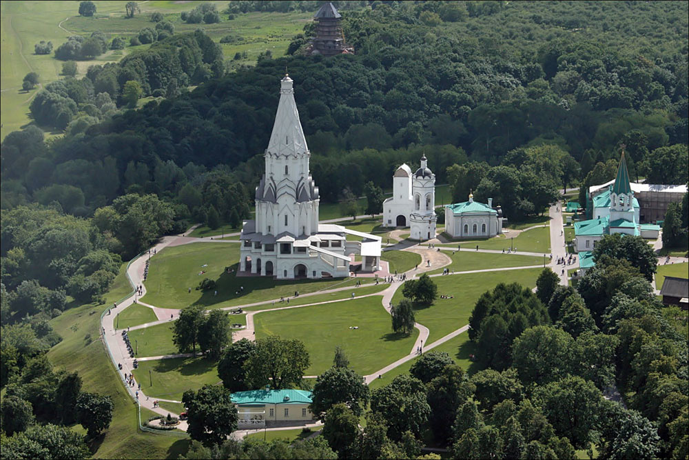 Vista aérea de Kolómenskoye.