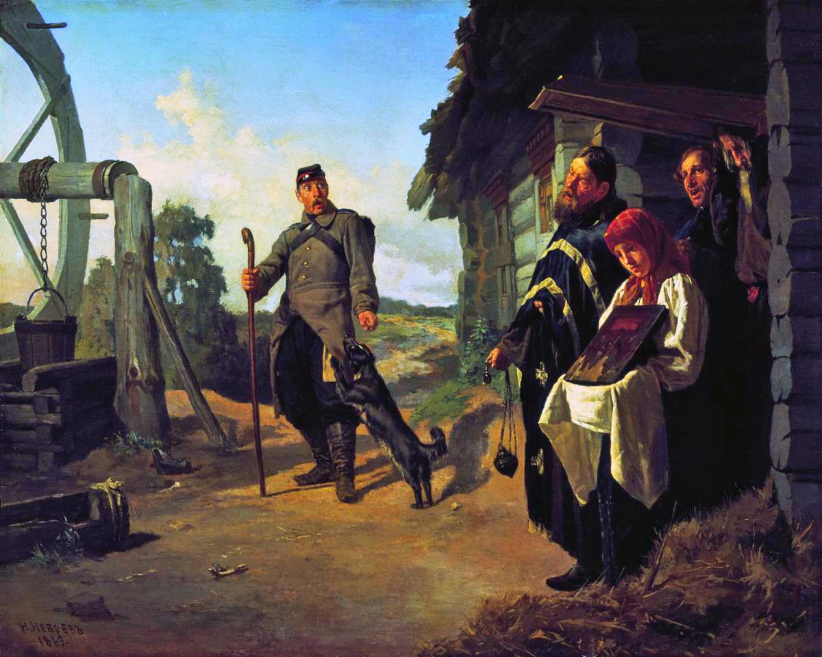 Le retour du soldat à la maison par Nikolaï Nevrev, 1869