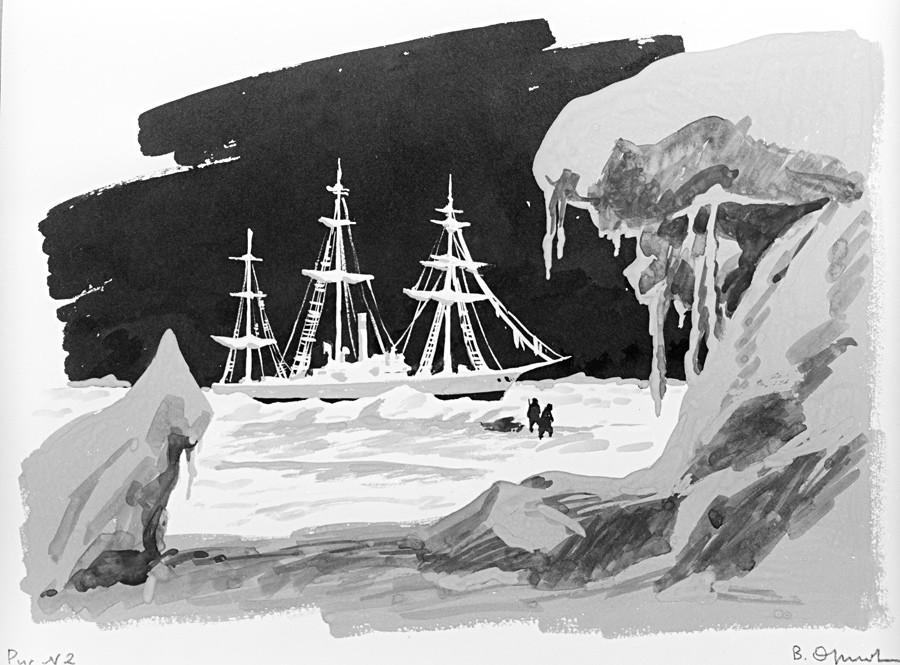 """Desenho """"Hercules barrado pelo gelo"""", de V. Orlov. Guache, caneta. Reprodução. Série de desenhos sobre o explorador do Ártico Vladímir Rusanov (1875-1913)."""