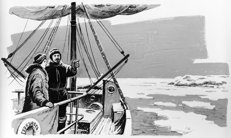 """Desenho """"No deque com 'Hercules' com a esposa Juliette Jean"""", de V. Orlov. Guache e caneta. Reprodução. Série de desenhos sobre o explorador do Ártico Vladímir Rusanov (1875-1913)."""