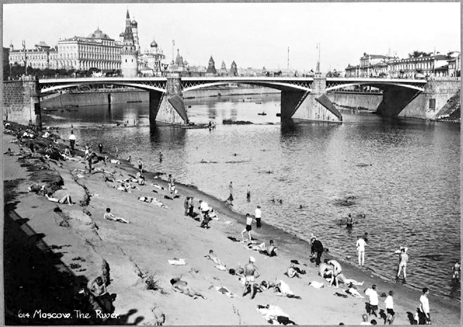 Nude beach near cathedral of Christ the Savior and the Moscow Kremlin, 1920s