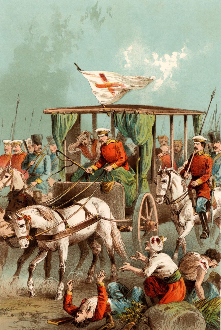 Un'ambulanza militare corre in soccorso dei feriti durante la guerra russo-turca, 1877