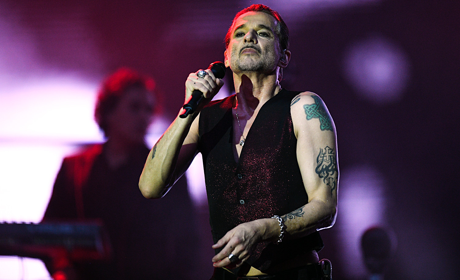 Depeche Mode vocalist Dave Gahan performs live at the Otkrytiye Arena stadium in Moscow as part of the band's Global Spirit Tour.