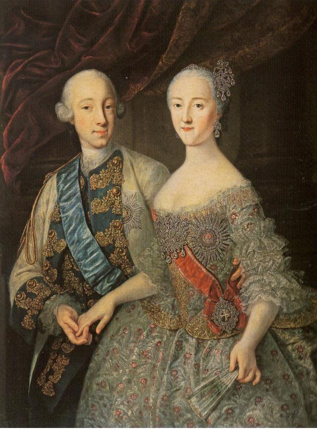 Georg Christoph Grooth je upodobil Petra III. in Katarino Veliko v letu njune poroke.