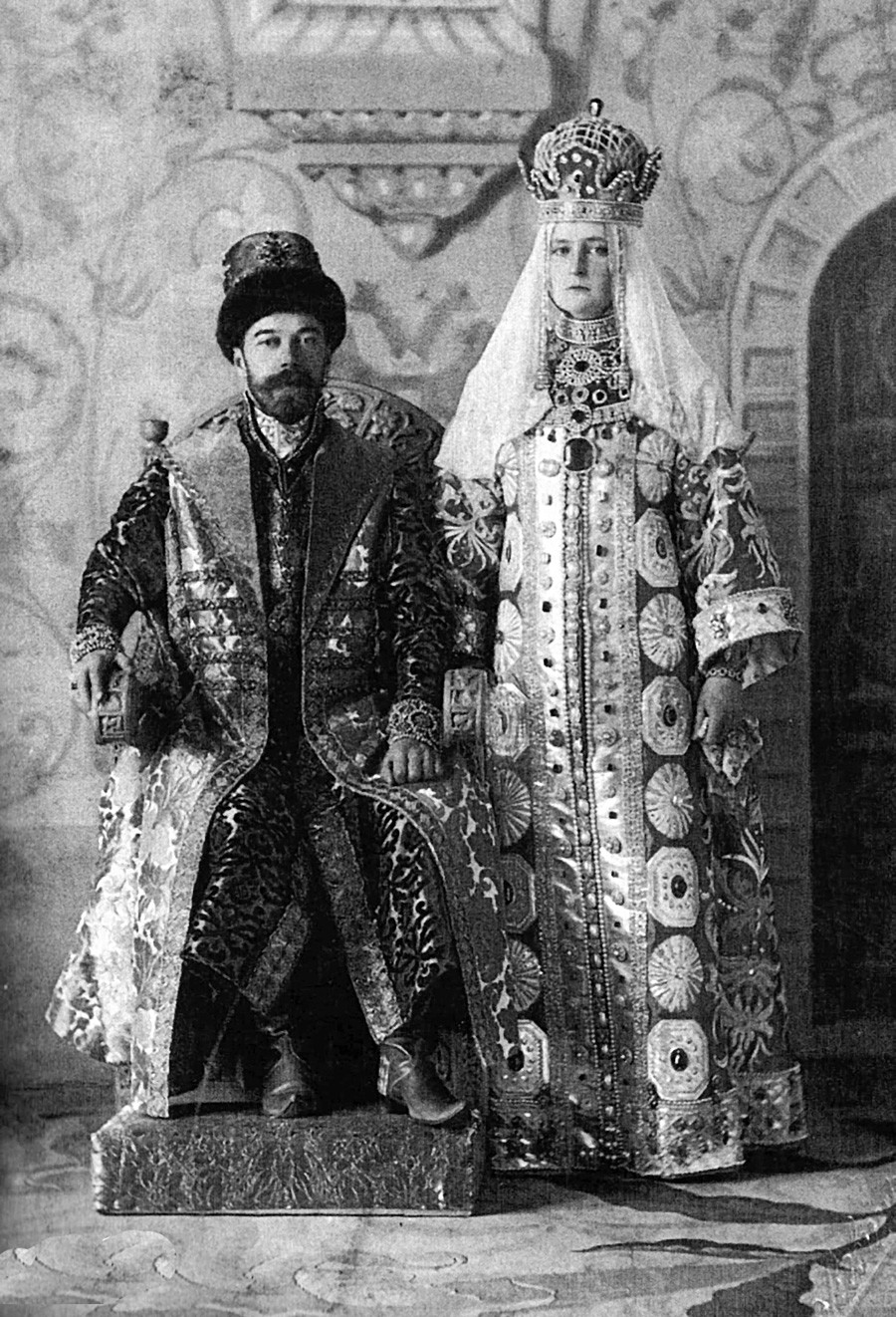 Nicholas II of Russia and Alexandra Fyodorovna (Alix of Hesse) in Russian dresses. 1913, celebration of 300th anniversary of the Romanov dynasty.