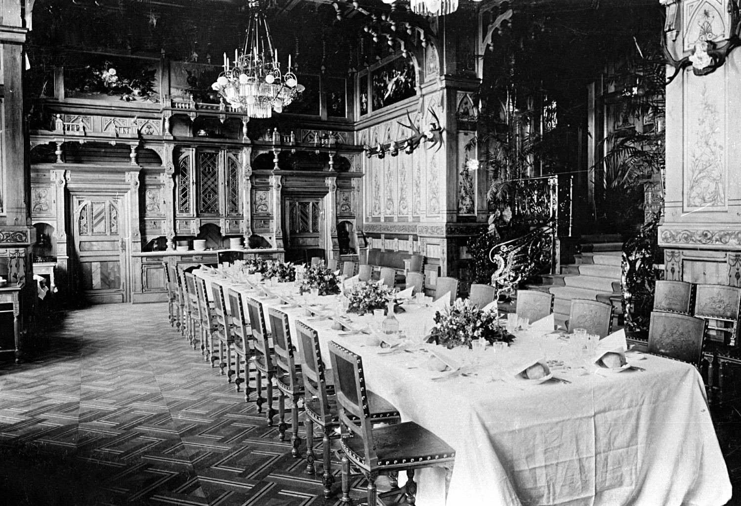 Interior of the palace of the Romanov dynasty, built in 1894 on the order of Tsar Alexander III of Russia, 1897