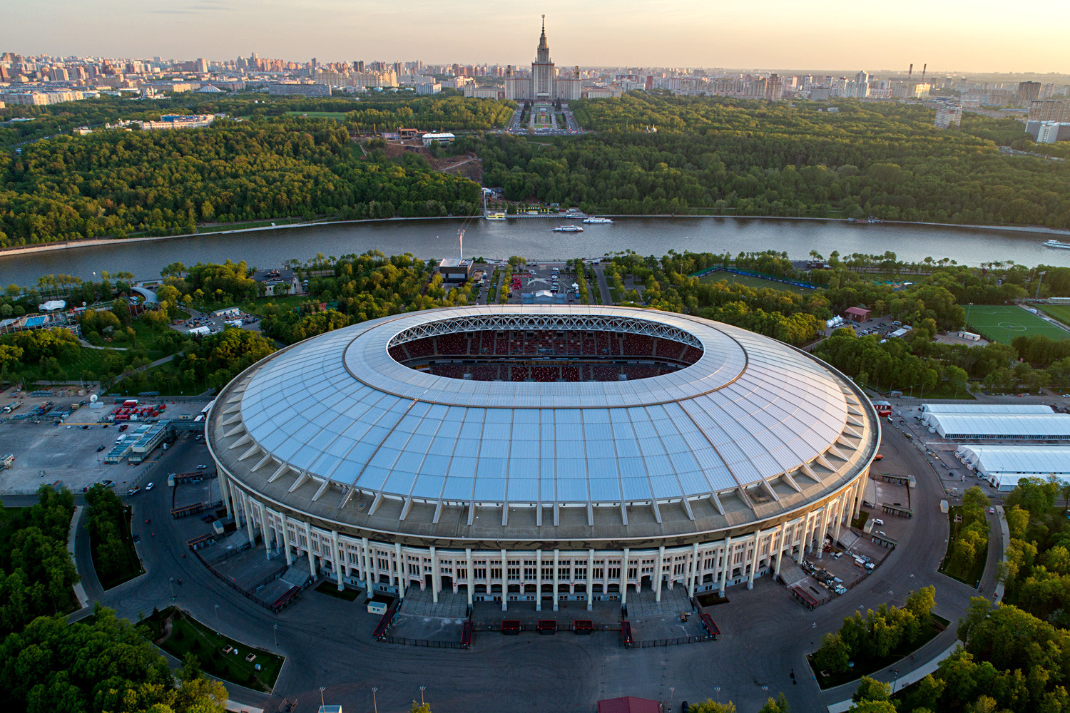 An aerial view of Luzhniki Stadium