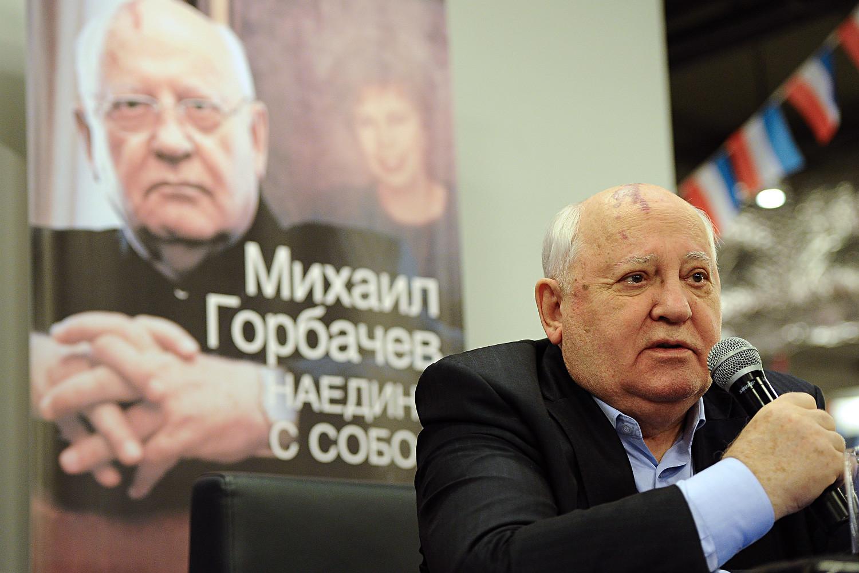 Михаил Горбачов на представянето на книгата му