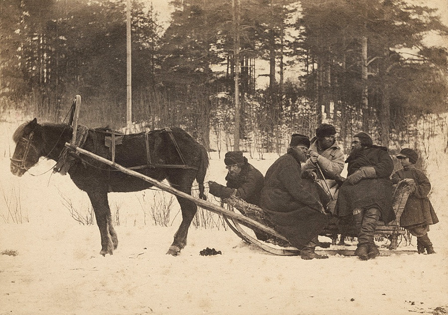 Peasants in a sleigh.