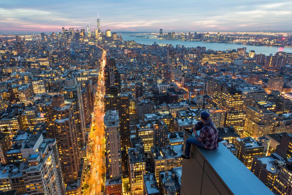 En un rascacielos en Manhattan, Nueva York.