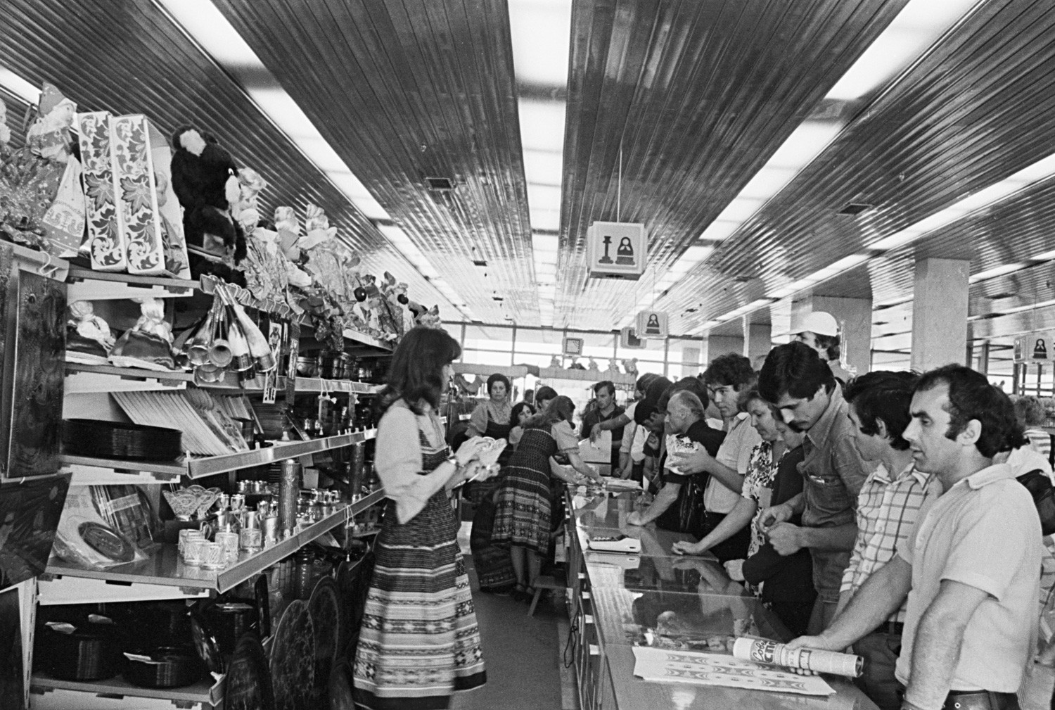 Gift department of the Olympic village shopping centre, 1980.