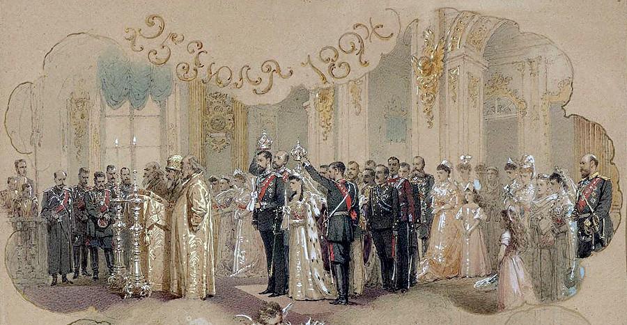 Зичи, Михаил Александрович. 1827-1906. Венчавката на княгиня Ксения Александровна и княз Михаил Александрович, 25 юли 1894 г., Петерхоф