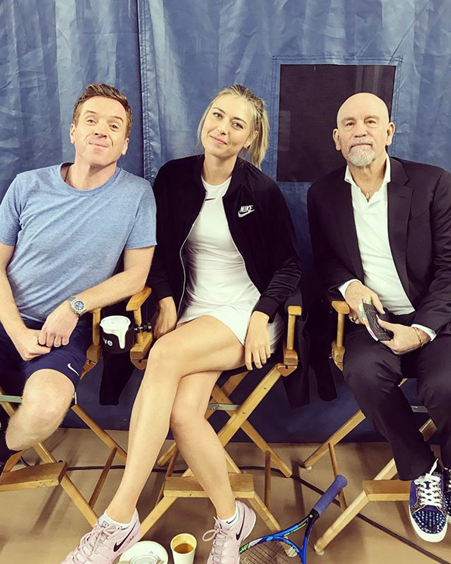 Russian tennis star Maria Sharapova with actors Damian Lewis (left) and John Malkovich (right)