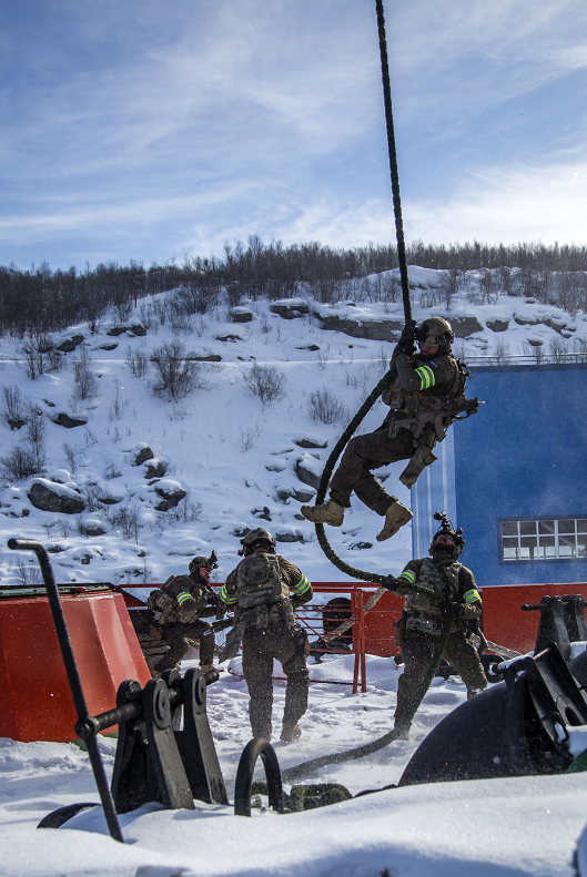 Druga skupina specialnih sil se spušča na ladjo iz zraka.