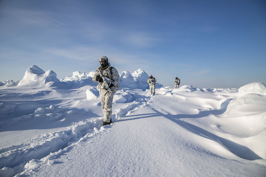Člani enote specialnih sil v nepregledni snežni puščavi Arktike.