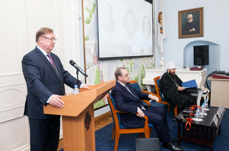 Сергеј Степашин и митрополит Иларион на конференцију у марту